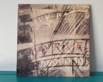 Navy Pier Ferris Wheel - Black and White Photography - Wood Panel