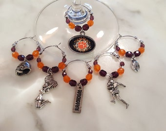 Clemson Tigers  Wine Charms W Pouch