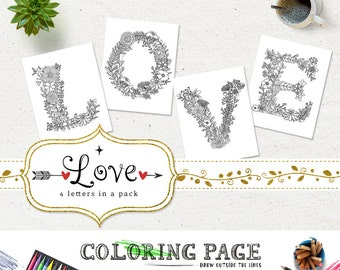 SALE Coloring Pages LOVE Printable Alphabets Coloring Letters Anti Stress DIY Adult Coloring Book Printable Art Instant Download Digital Art