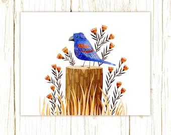 Blue Grosbeak Print -- bird art -- colorful bird art 52 birds stephanie fizer coleman illustration