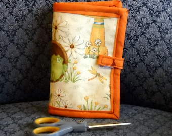 Frogs and Ladybugs Needle Book, Needle Case, Hand Sewing Organizer