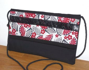 shoulder bag in both black and Red/gray fan