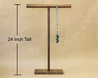 24 Inch Collapsible Solid Wood T-Bar Bracelet Necklace Display / Scarf Stand / Large T Bar Jewelry Organizer / Trade Show Display / TB024