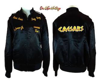 Las Vegas Casino Satin Jacket, Vintage Adult Large Bomber Jacket, Caesars Palace, Black Satin Embroidered, Fits Mens L Womens L XL