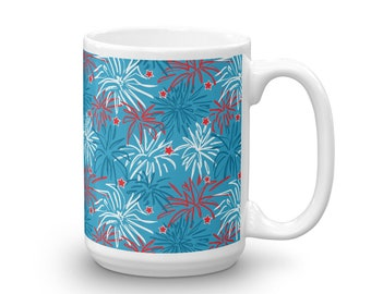 4th of July Fireworks Mug 15 oz Red, white and Blue with Stars - Patriotic USA