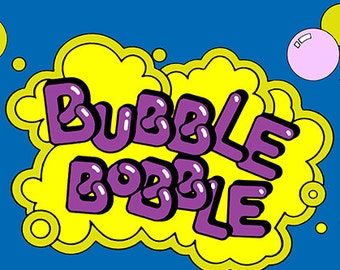 """Bubble Bobble Marquee, Arcade, 12 x 36"""" Video Game Poster, Print"""