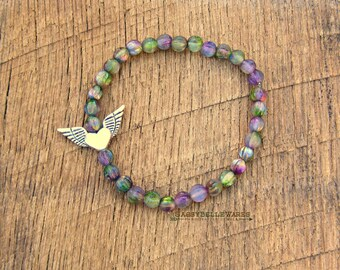 As Seen on Law and Order SVU Winged Flying Heart Bracelet with Czech Glass Beads green purple antique silver love freedom free spirit boho