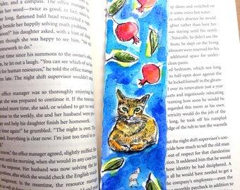 Pomegranate and Orange Cat Bookmark, Originl Watercolor, Jewish Gifts, Pomegranate Painting, Cat Painting, Judaica Art, Pomegranate Tree