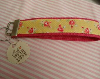 Shabby Chic Polka Dot Floral Roses Wristlet Keychain / Keyfob