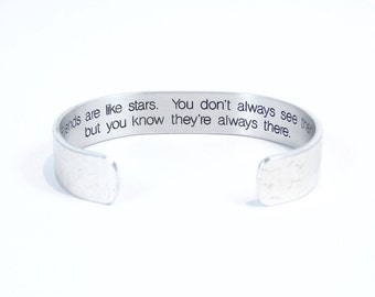 "Bridesmaid / Friend gift - ""Friends are like stars. You don't always see them, but you know they're always there."" 1/2"" hidden message cuff."