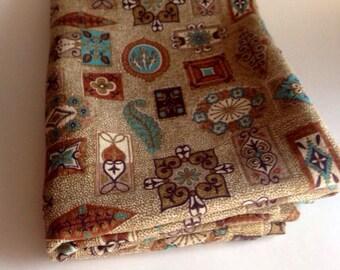 Vintage 1950s Aqua Brown Bark Cloth Yardage