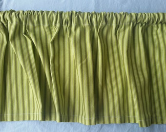 Green Striped Kitchen Valance Curtain, Green and White