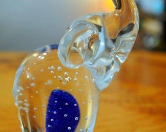 SALE  Vintage Glass controlled bubbles Elephant Paperweight w/blue   SALE