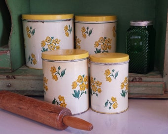 Vintage Canister Set ~ Nesting Tins ~ Set of Four ~ Yellow, Off White, & Green ~ Floral Pattern