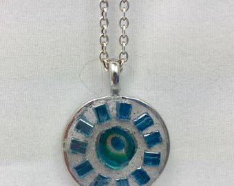 """Mosaic Pendant with 18"""" Silver Chain"""