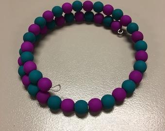Teal and purple beaded bracelet