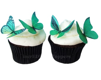 Edible Cake Toppers - EDIBLE BUTTERFLIES in 24 Green - Cupcake Toppers, Butterfly Cake Decorations, Wedding Cake Toppers
