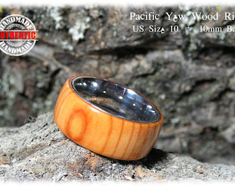 Pacific Yew Wood Ring with Stainless Steel Core - Handcrafted - FREE SHIPPING