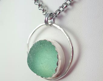 Gift for Her Sea Glass Jewelry Aqua Sea Glass Necklace OOAK Sea Glass - N-607