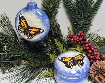 Monarch Butterfly Ornament and Keepsake Box Gift Set