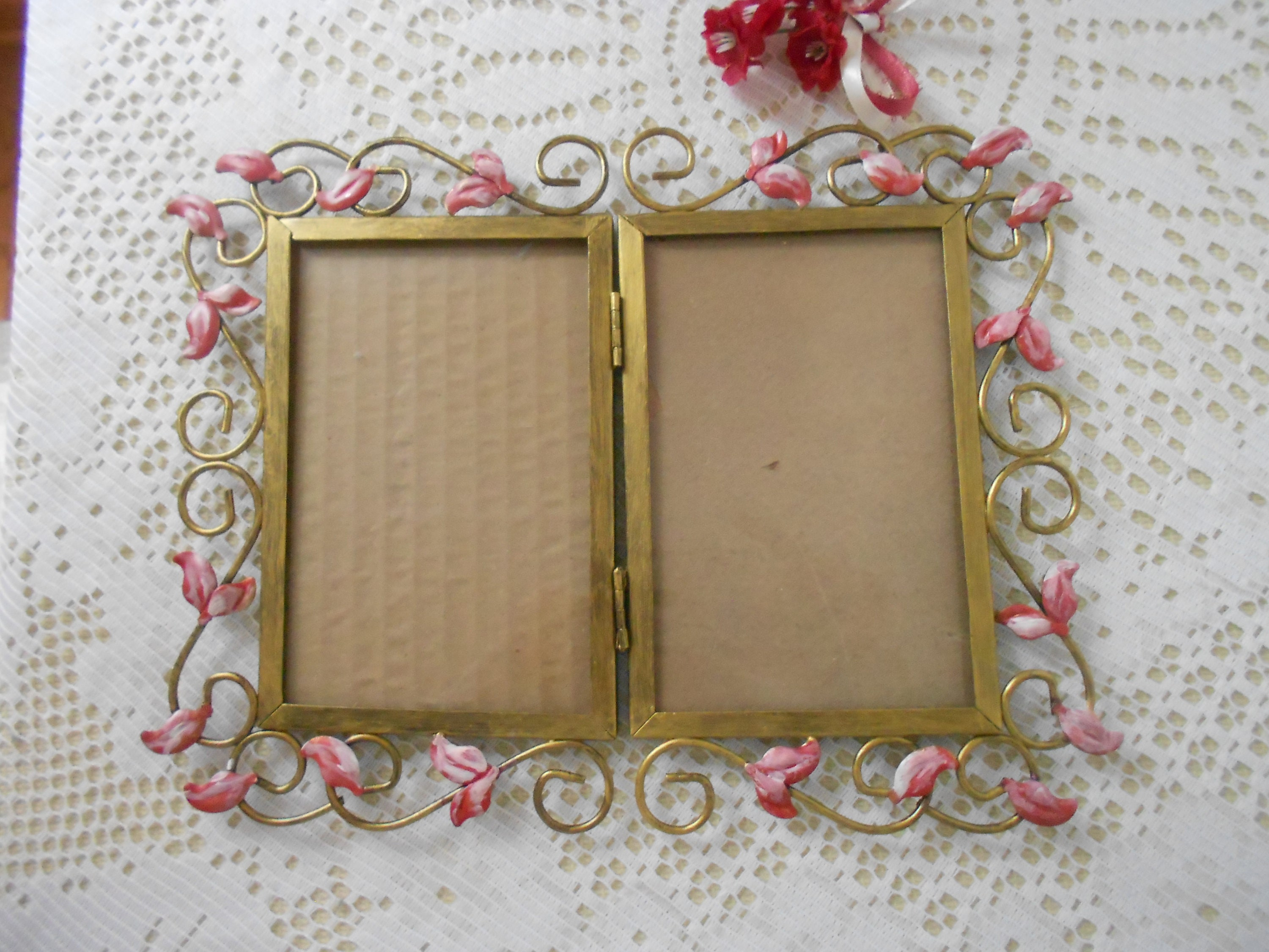 Vintage Gold tone ornate picture frame double hinged with