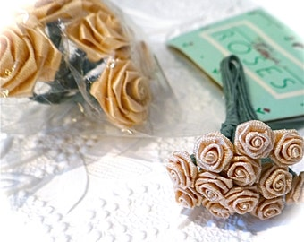 Champagne Ribbon Roses 2 Bunches Craft Supplies RR-103