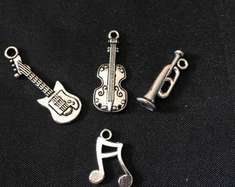 set of 4 mixed musical instruments charms silver for jewellery designs