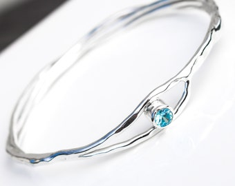 Blue Topaz Sterling Silver Bangle, Solid Silver Stacking Bangle, Ecofriendly Silver Jewellery, Silver Organic Gemstone Bangle, Elementisle