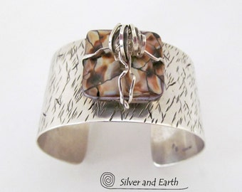 Sterling Silver Cuff Bracelet, Wide Silver Cuff, Handmade Silversmith Jewelry, Metal Cuff Bracelet, One of a Kind, Bold Statement Jewelry