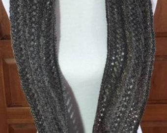 Hand-spun, hand-knit infinity scarf
