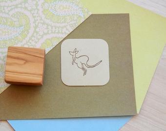 Jumping Kangaroo Olive Wood Stamp