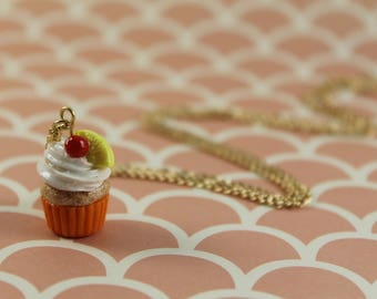 Tiny Pineapple Upside Down Cupcake Necklace, Miniature Dessert, Polymer Clay Fake Food Jewelry