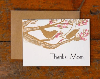 Thanks Mom letterpress linocut card with envelope