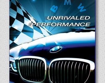 BMW  garage car sign, checkered flag, BMW kidney grill, Unrivaled performance BMW, Black Sports car,  racing sports car