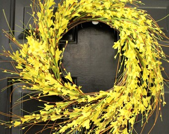 Yellow Spring Forysthia wreath , Summer Yellow wreath,   berry wreath ,Forysthia wreath