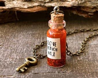 Love Potion, Vial Necklace, Tiny Bottle Necklace, Red Glitter, Glitter Pendant, Valentine Necklace, Magic Necklace, Geek Necklace