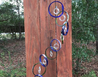 blue, green, clear, GLASS WINDCHIMES -RECYCLED bottles, garden decor, wind chimes, mobiles, windchimes, soothing music