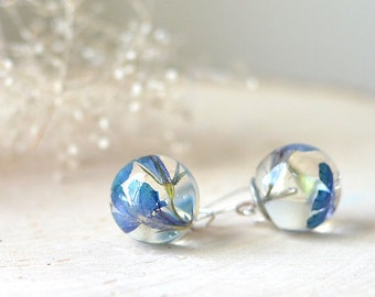 Real flower earrings Pressed flower jewelry Nothers day jewelry Blue verbena nature jewelry Terrarium earrings Gift under 50 gift for her