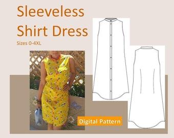 Ladies Sleeveless Shirt Dress - Sizes XS, S, M, L, XL, 2XL, 3XL, 4XL - Downloadable PDF Sewing Pattern, Button Closure, Collar, Plus Size
