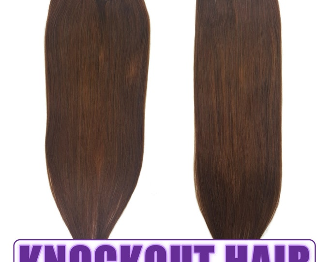 """Fits like a Halo Hair Extensions 20"""" Med Golden Brown (#3) - Human No Clip In Flip In Couture by Knockout Hair"""