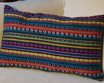 Mexico series 3: cushion, 30x50cm (12 x 20), striped cotton Mexican motifs, multicolor.