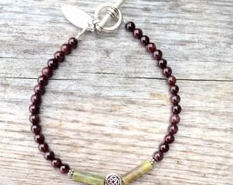 Garnet, Connemara marble Celtic Bracelet. Irish made jewellery traditional gift