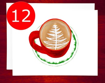 SALE Holiday Card 12 Set Coffee Latte Art Christmas Card Set - Christmas Greeting Cards Boxed Holiday Cards Boxed Christmas Cards Boxed Set