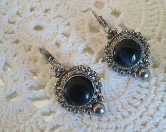SUMMER 50%OFF SALE/Vintage Ornate Silver Metal Black Earrings, Victorian Edwardian Style