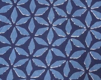 fabric in light cotton, blue and indigo collection, Star/Diamond designs