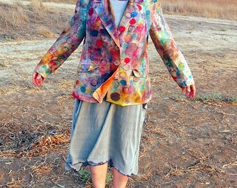 Hand Painted Silk Blazer -  made by Kathrin Kneidl for Resplendent Rags
