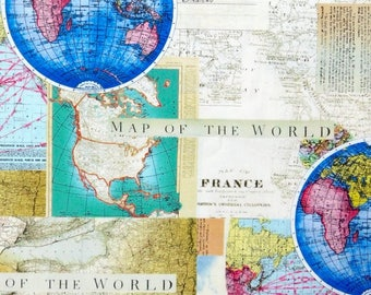 END OF BOLT 10 inches long of Map fabric, world map travel fabric 100% cotton for Quilting and general sewing projects.