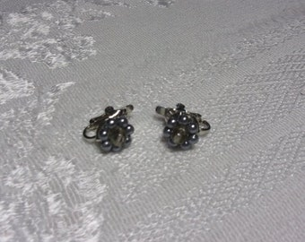 Vintage bead flower clip earrings, estate jewelry