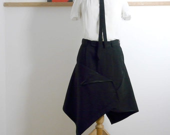 Size L - Suit Drape Skirt in Black Tuxedo - Upcycled - (36.75inch)