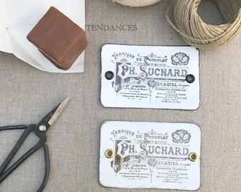 "Labels Metal rectangular plate ""Chocolat Suchard"" old print 8.5 X 5.5 Cm"